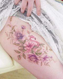 Flamenco y ramillete de flores por Mini Tattoo