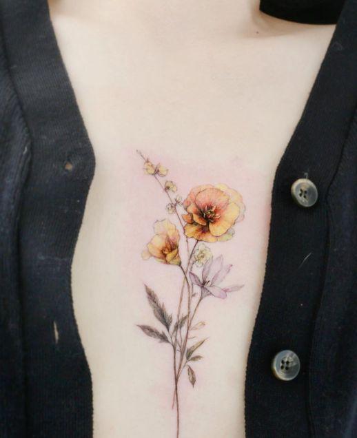 Flores amapolas amarillas por Tattooist Flower