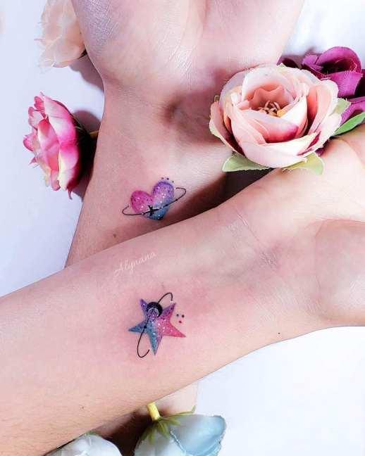 Estrella y Corazón para Amigas por Alynana Tattoos