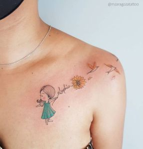 Nombre: Sophia, nena agarrando flor de girasol y aves por Mariana Zaragoza