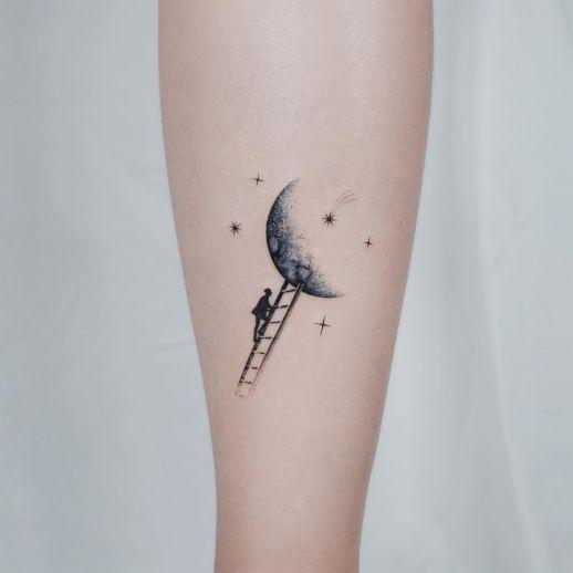 Silueta Hombre subiendo a la luna en Tinta Negra por Studio by Sol, E. Nal