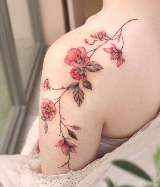 Enredadera de Flores Amapolas por Tattooist Yeon