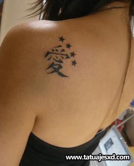 Tatuaje Estrellas Y Caracteres Chinos