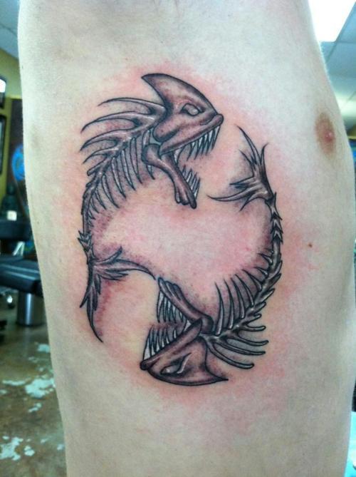 fishes skeleton tattoo