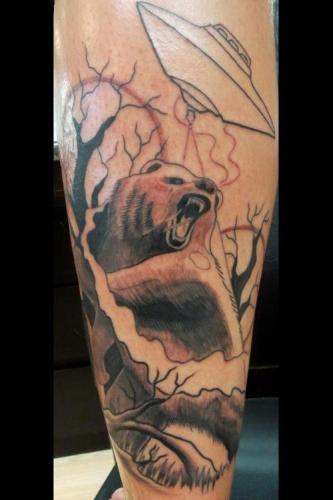 UFO Bear tattoo