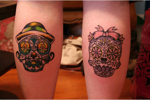 Folk skull tattoo