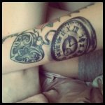 pocket watch and lock tattoo