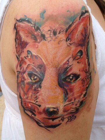 Fox tattoo shoulder