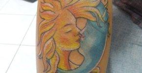 Moon and sun tattoo