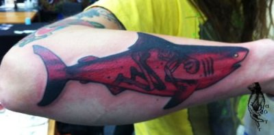 red shark tattoo