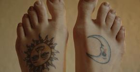Sol y luna tatuajes en pies