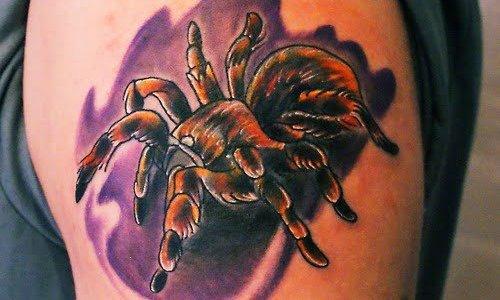 tatarántula tatuada en hombro