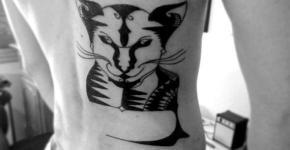 Tatuaje tipo stencil de gato