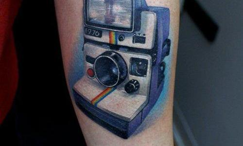 Polaroid camera tattoo