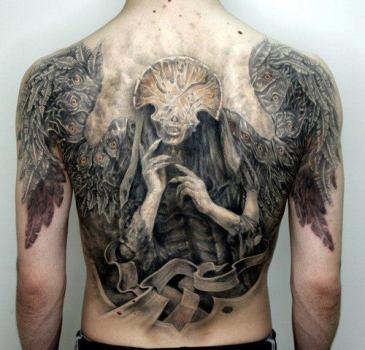 Hellboy's Angel of death tattoo