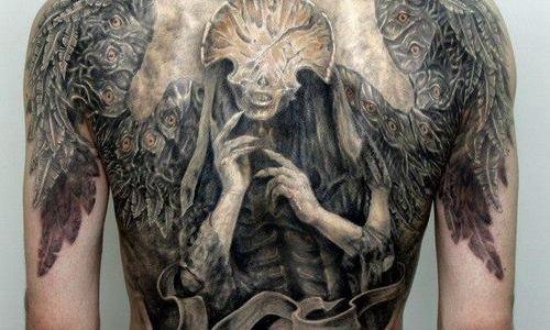Hellboy's Angel of death tattoo
