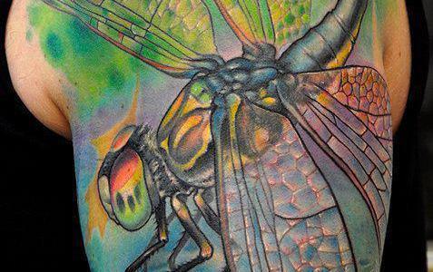 Dragonfly tattoo on shoulder