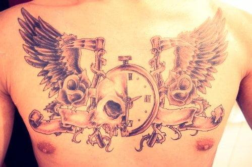 Tatuaje De Un Reloj En El Pecho Tatuajesxd