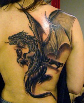 Black dragon on the back