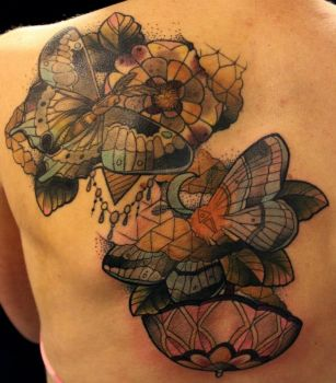 moths tattoo on back