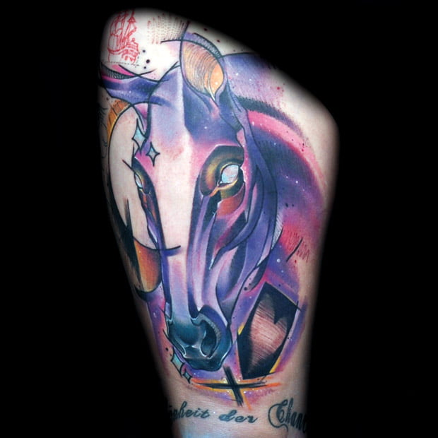 Tatuaje Caballo tatuaje caballo morado por mark halbstark - tatuajesxd