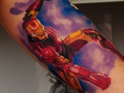 Ironman tattoo on arm
