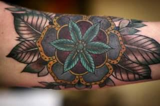 Flower tattoo old school