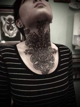 Throat tattoo for girl