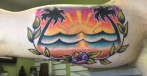 Tatuaje paisaje de una playa