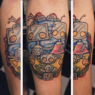 Tatuaje familia robot