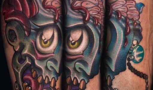 Tatuaje cabeza de zombi