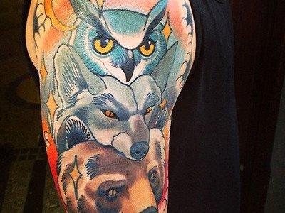 Tatuaje animales bosque