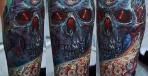 Tatuaje pulpo y craneo