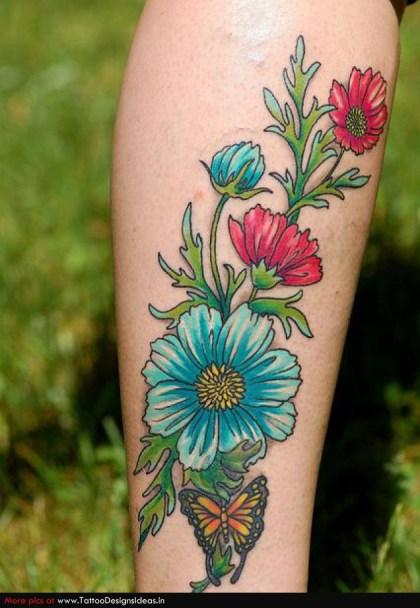 Tatuaje flores azules