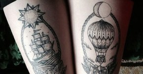 Tatuaje barco y globo