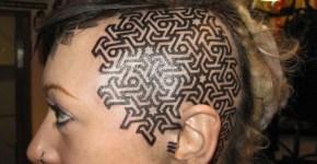 Tatuaje geométrico en la cabeza
