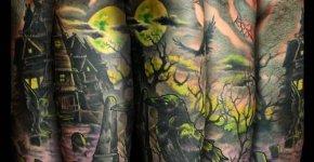 Tatuaje paisaje tenebroso
