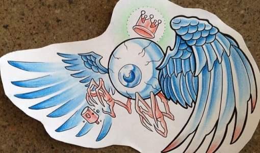 Dibujo preparatorio ojo con alas