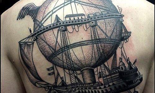 Tatuaje barco volador