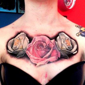 Tatuaje De Rosas En El Pecho Tatuajesxd