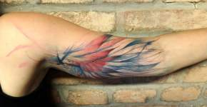 Tatuaje ala de colores