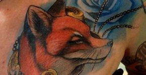 Tatuaje zorro en el pecho