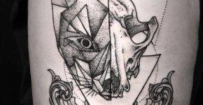 Tatuaje gato deconstruído