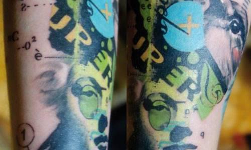Tatuaje collage verde