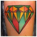 Tatuaje diamante de colores