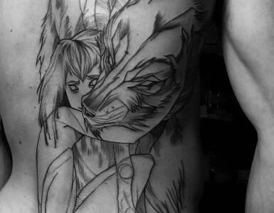 Tatuaje niño lobo