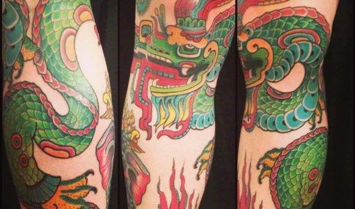Tatuaje dragón verde