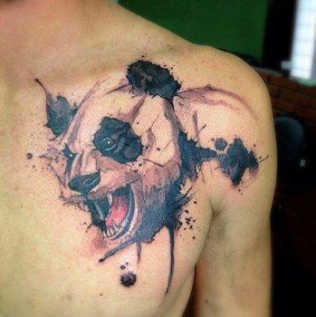 Tatuaje panda watercolor