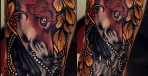 Tatuaje zorro rojo en el brazo