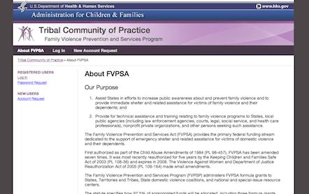 Screenshot of Tribal Community of Practice